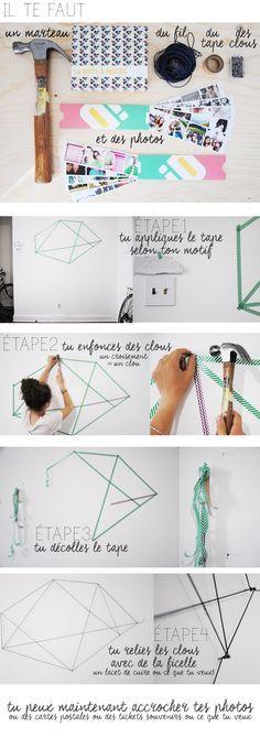DIY Quelques clous, quelques photos, un bout de ficelle & hop une idée déco pour ton mur tout vide ! CHEERZ, POLABOX, BLOG DIY