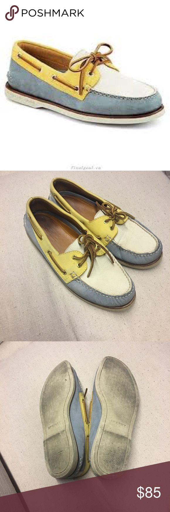 Men's Sperry Top-Sider Gold Cup Original 2-Eye 350304 Boat Shoes Blue/Yellow/Ivory Men's Sperry Top-Sider Gold Cup Authentic. A pale yellow and sky blue boat shoes from Sperry. Good condition, just normal signs of wear  as seen in photos. Men's size 9. Offers are welcomed and I love to bundle so check out the rest of my closet and no trades or holds please. Sperry Shoes Boat Shoes