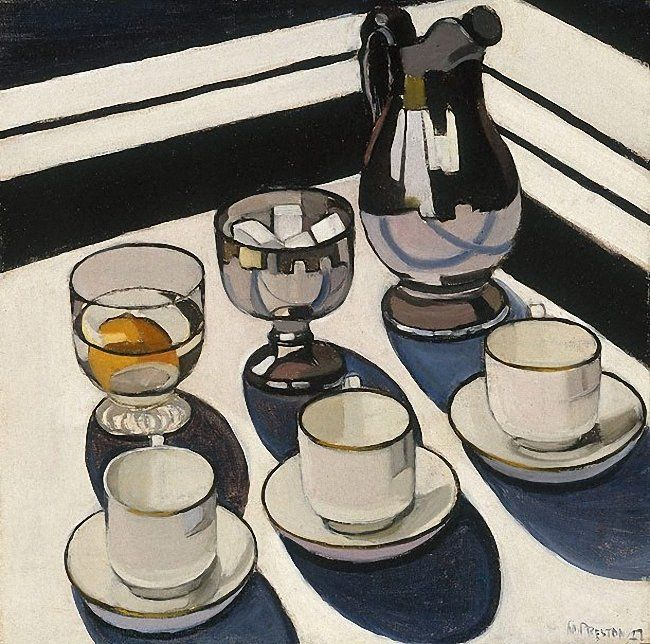 Marget Preston, 'Implement Blue', 1927 - #U4APSA Likes: Heavy usage of geometric figures, as well as organization of cups & containers.