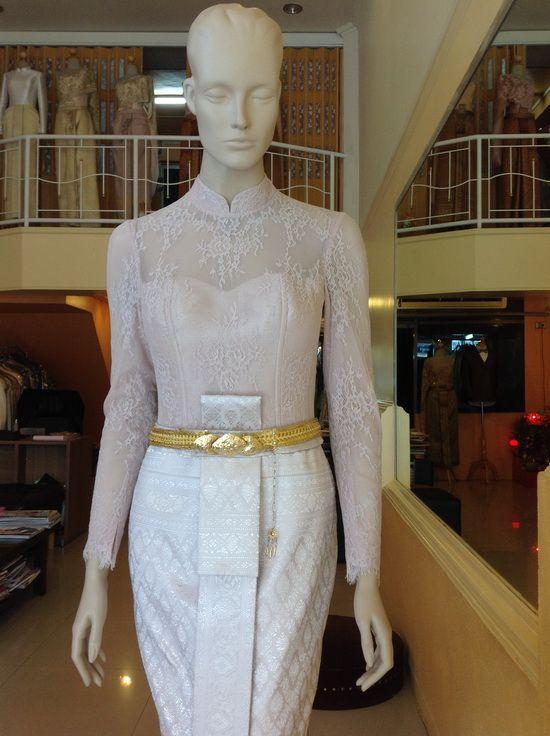 ชุดไทยเจ้าสาว แขนยาว บรมพิมานประยุกต์ ลูกไม้ คอจีน