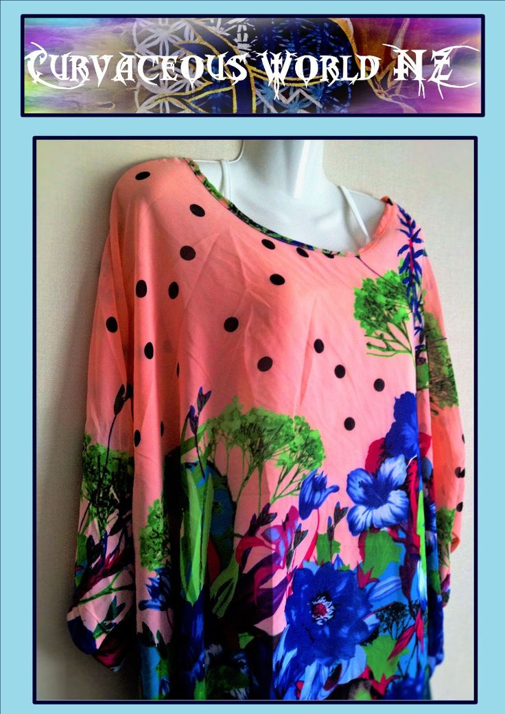 Blue Flower Bohemian style Blouse with Batwing sleeves for just $35.00.    ORDER HERE....... http://goo.gl/n13sDa     Free Size 14 to 22. Material: Polyester / Chiffon mix. Bust: 166cm, Front length: 53cm, Back length: 69cm. Variations in print due to cut of material. (example of Bat-wing style included in images). Please note the chiffon tops DO NOT come with the White or Black undergarment. ONE ONLY.........            [Buy Blue Flower Bohemian style Blouse with Batwing…