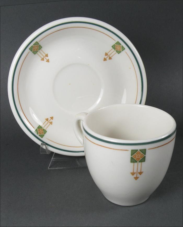 Arts And Crafts Style Arrow Pattern Demi Cups And Saucers