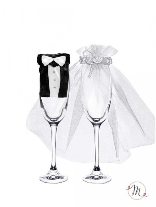 2,99+ Vestiti da sposi per bicchieri