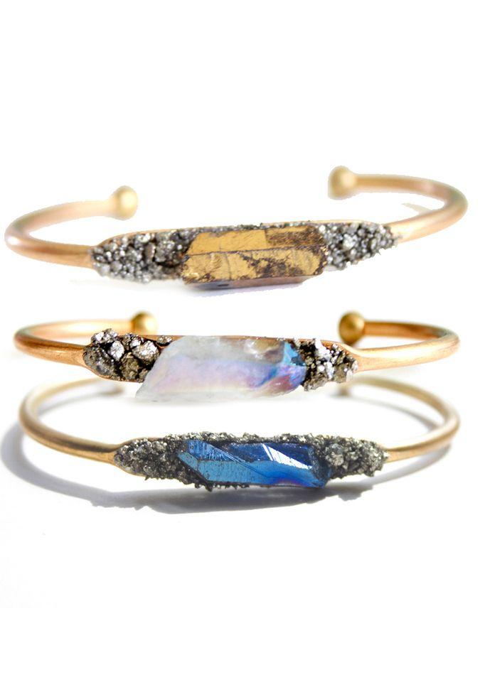 Raw crystal cuffs //