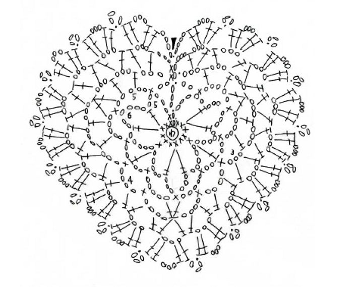 #crochet #heart #pattern #diagram #tichtach patrón corazón de ganchillo