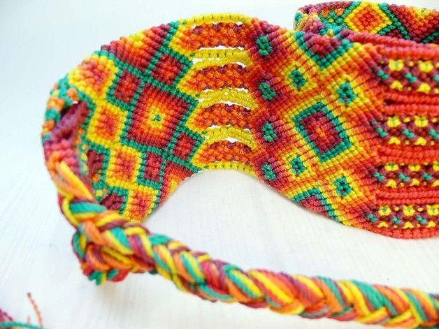 Taillengürtel - Makramee-Gürtel *TRIBAL* ethno, handgefertigt - ein Designerstück von ModaFrida bei DaWanda