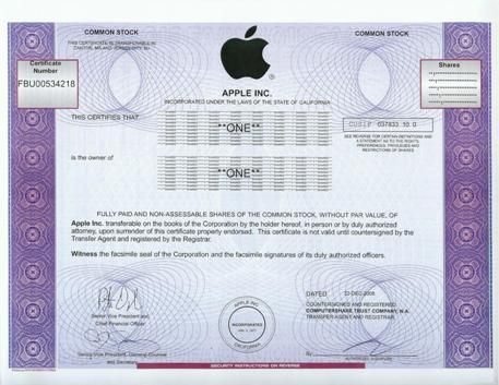 Apple Stock Certificate Scripophily / FAMOUS NAMES