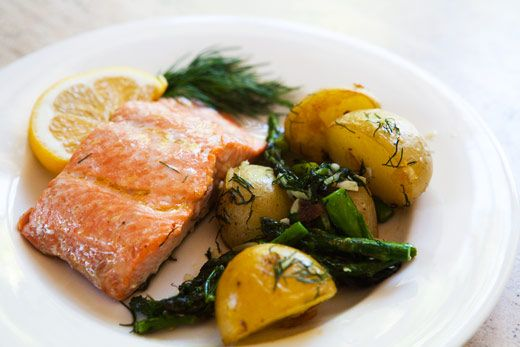 Oven-Roasted Salmon, Asparagus and New Potatoes...one of the easiest ...