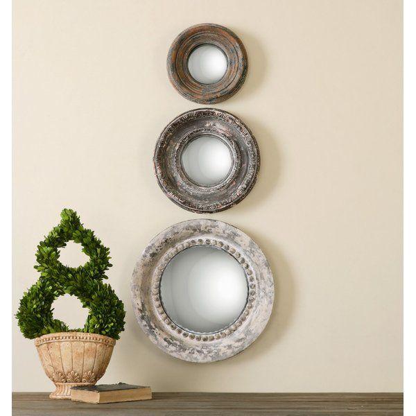 3-Piece Alona Round Large Wall Mirror Set