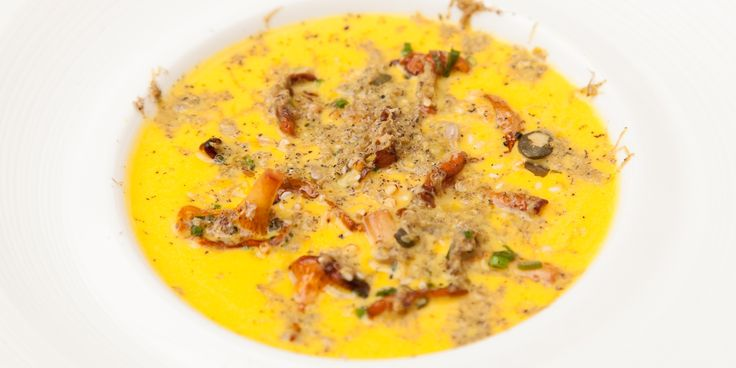Pumpkin velouté with wild mushrooms  A delicious pumpkin soup recipe by Colin McGurran, served with wild mushrooms and luxurious truffle oil; the perfect autumn dinner party dish.