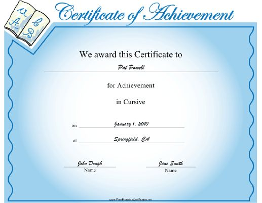 This Cursive Achievement Certificate Features Examples Of Cursive  Characters Written In A Book. To Be Presented To A Grade School Student Who  Is ...  Examples Of Achievements