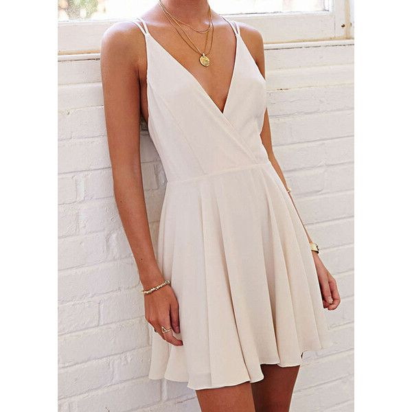White Coctel Camisole Spaghetti Strap- Backless Pleated Dress (34 CAD) ❤ liked on Polyvore featuring dresses, short sleeve dress, cocktail party dress, summer cocktail dresses, white chiffon dress and white summer dresses