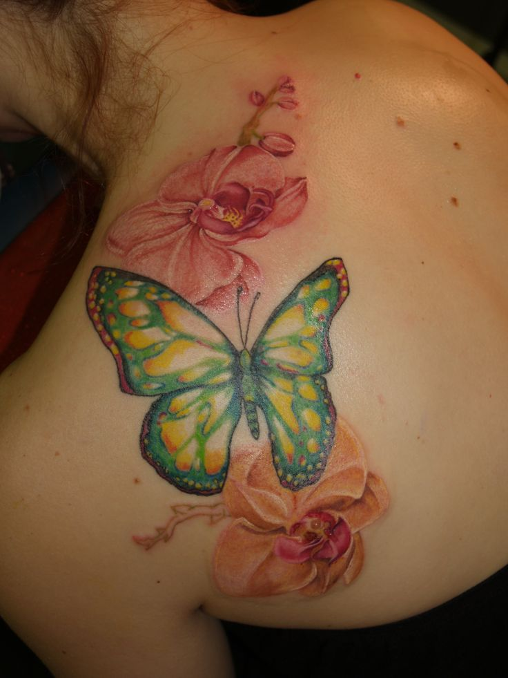 K Butterfly Tattoo Butterfly and Flower T...