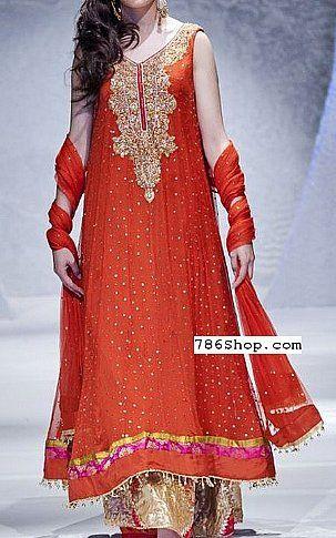 Orange Crinkle Chiffon Suit | Buy Pakistani Dresses Online in USA | www.786shop.com