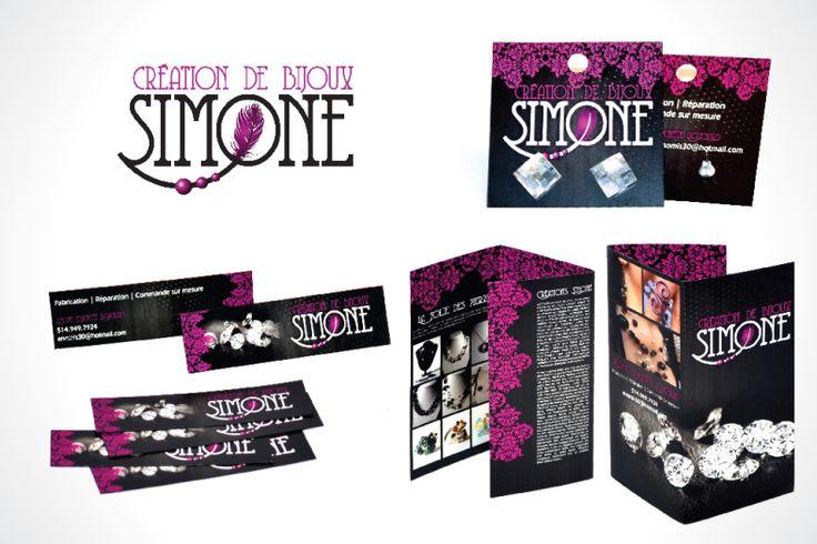 Prototype pour Simone création de bijoux. Carte d'affaires mince, Porte bijoux carré et dépliant.  Osez-design.com