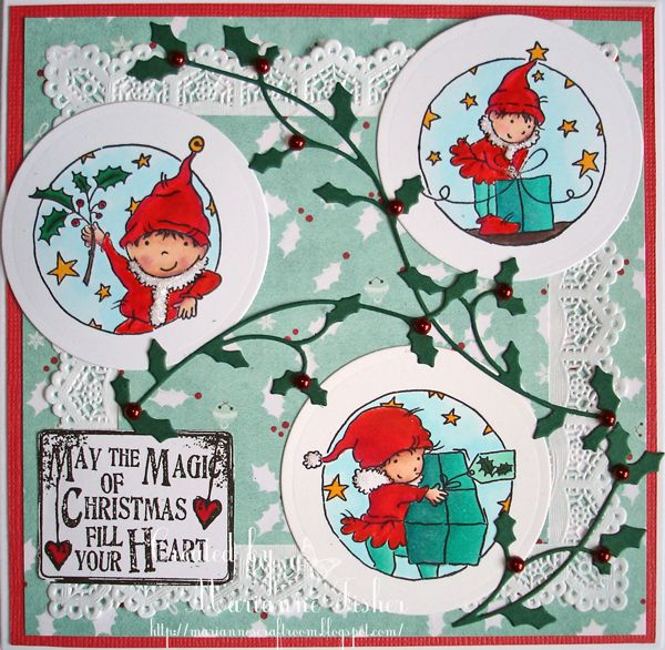 LOTV - Elves Trio with Festive Trimmings Paper Pad and Christmas Grungy Messsages Sentiments by Marianne Fisher