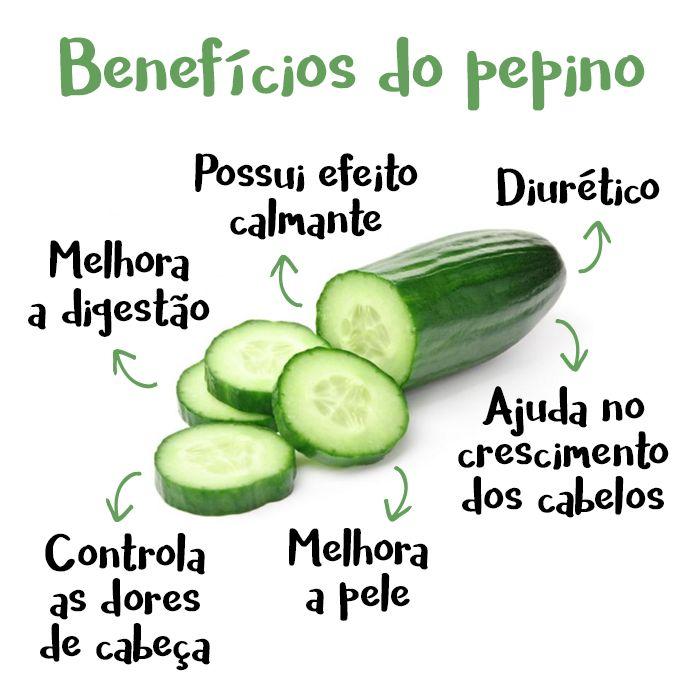 O pepino é um vegetal muito pobre em calorias mas rico em água, em minerais e antioxidantes que ajudam a hidratar o corpo, manter o funcionamento do intestino garantindo assim a saúde.