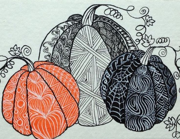 zentangle pumpkin design Zentangled
