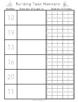 Freebie for Composing Teen Numbers.  Trace a teen number, use 10's and 1's to make a teen number and then make it on a double 10 frame. Great for a math center or activity.