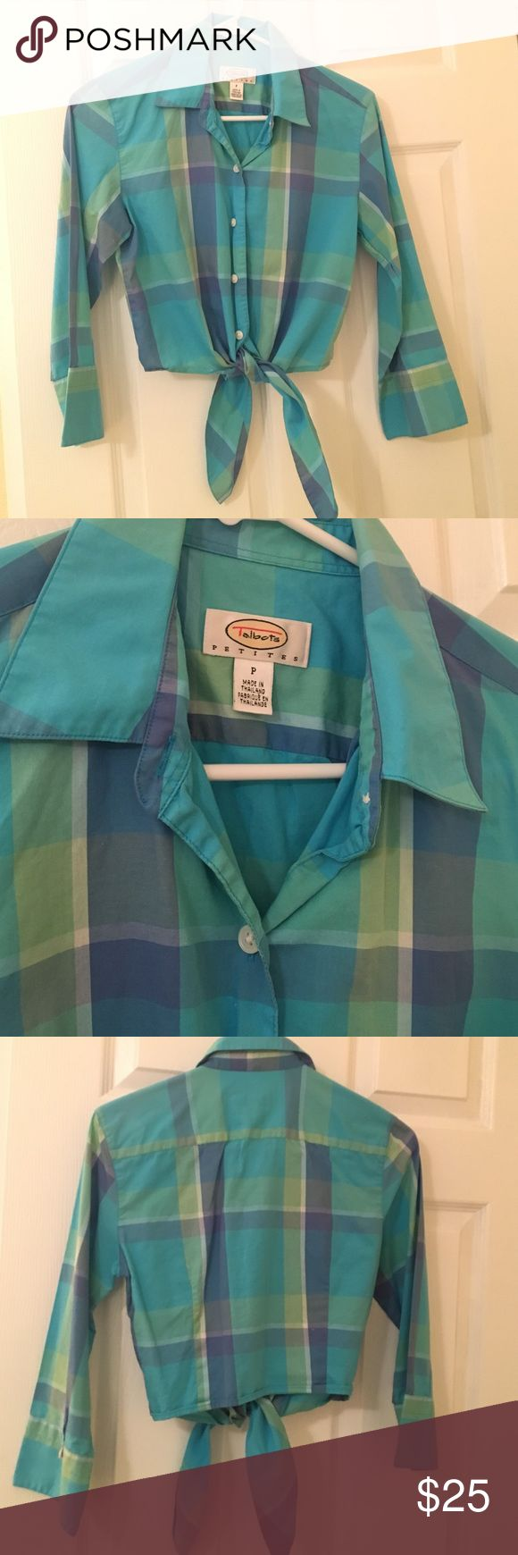 Talbots Petites Petite Crop Tie Front Button Plaid Talbots Petites Petite Small Crop Top Tie Front Button Down Plaid Top. Size Petite. Fits like a small 2-4. New never been worn. Gorgeous blue purple green teal plaid. Hits below belly button and above hips. So cute! Talbots Tops Crop Tops