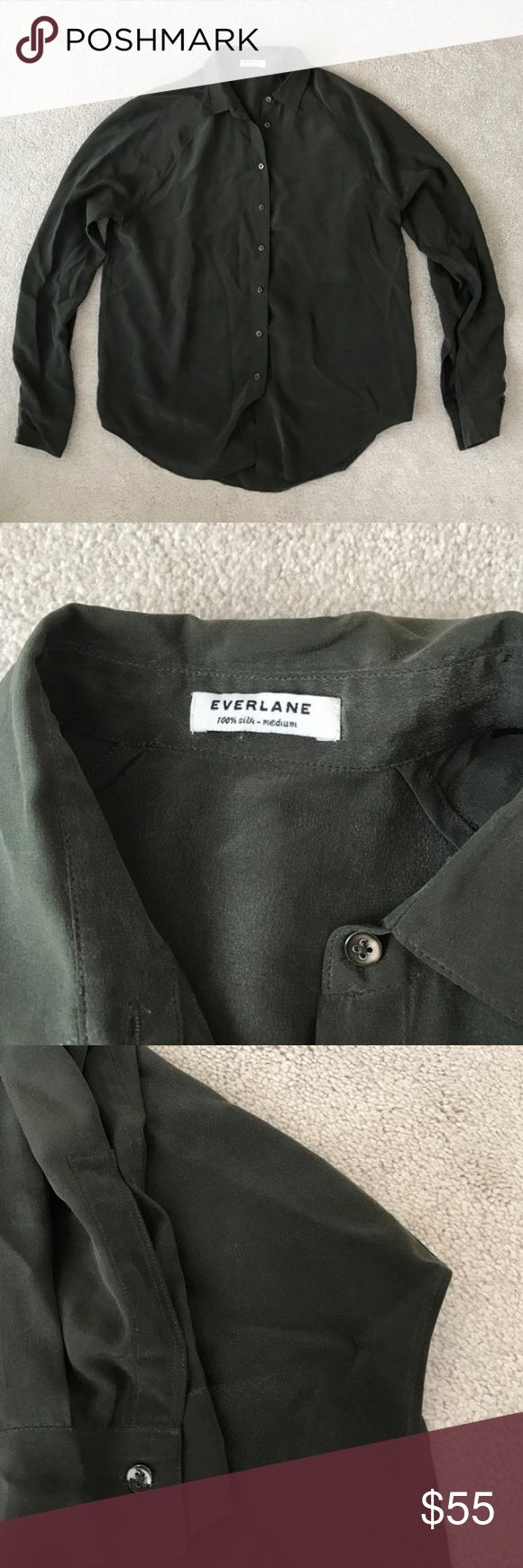 Everlane Silk Point Collar Shirt Everlane silk Point collar shirt in dark green. 100% silk. Dry clean only. No stains or imperfections on the silk, but one button is cracked as pictured. Could easily be replaced. Everlane Tops Blouses