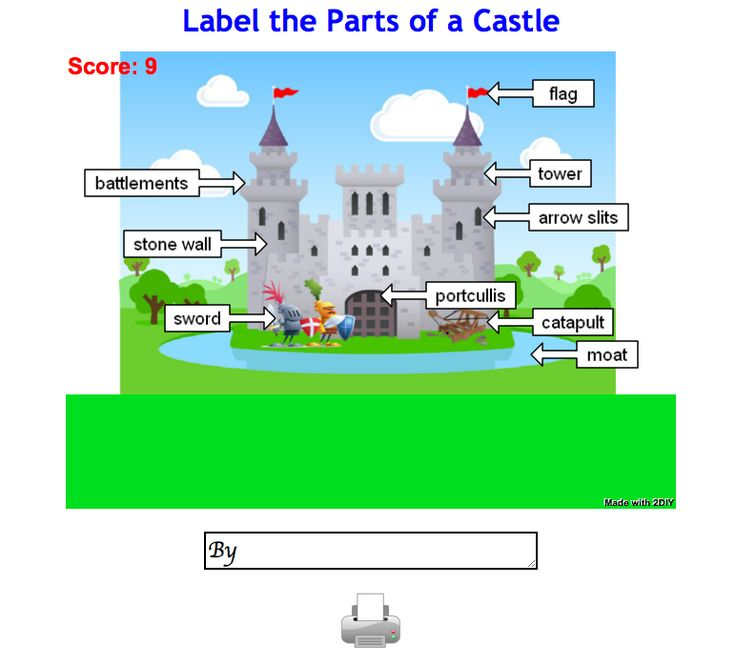 Label the castle for Foundation/Early KS1.