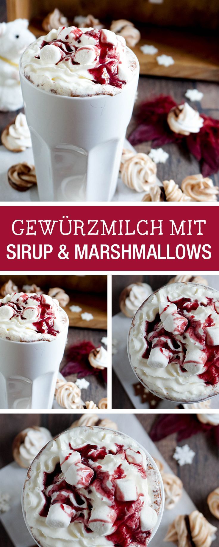 Perfekt für kalte Wintertage: Gewürzmilch mit Sirup und Marshmallows / christmas recipe for cold winter days: milk with sirup and marshmallows via DaWanda.com