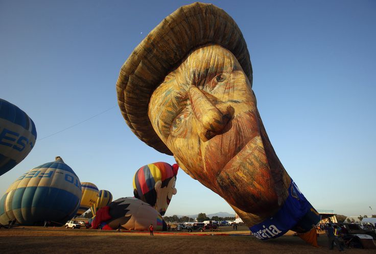 A view of a Van Gogh-inspired hot air balloon being inflated during the Philippine International Hot Air Balloon Fiesta at Clark Freeport Zone in Pampanga province, north of Manila.