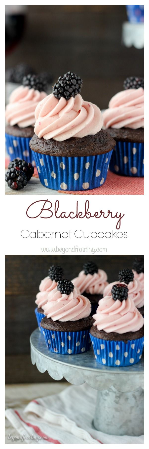 These easy Blackberry Cabernet cupcakes start with a doctored cake mix and some red wine. They are baked with fresh blackberries and topped with a luscious blackberry frosting.
