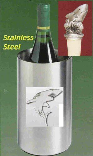 Shark Wine Chiller with Shark Pewter Bottle Stopper . $62.95. Shark Single Bottle Iceless Stainless Steel Wine Chiller with detailed pewter emblem. Double walled and thermal insulated. Will keep a prechilled bottle of wine cool up to three hours. Shark pewter Bottle Stopper comes with attached chain and pewter ring which slips over a bottle's neck. The cork shown in the picture has been replaced by a stronger non-staining, non-breakable burgundy synthethic cork. Now also av...
