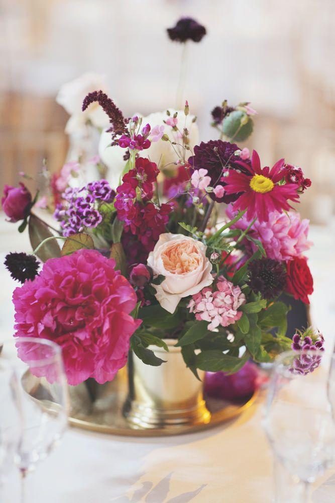 Deep plum & Fuchsia Pink Wedding Flower Centrepieces |  The Asylum London & Garden Museum Wedding Venues Deep Jewel Pink & Gold Colour scheme | Gemy Maalouf Couture Gown from Morgan Davies Bridal | On Love and Photography | http://www.rockmywedding.co.uk/francesca-tony/