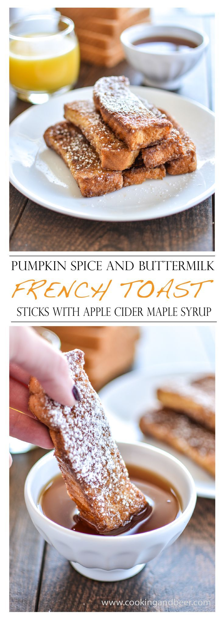 Pumpkin Spice and Buttermilk French Toast Sticks with Apple Cider Maple Syrup   www.cookingandbeer.com   @jalanesulia