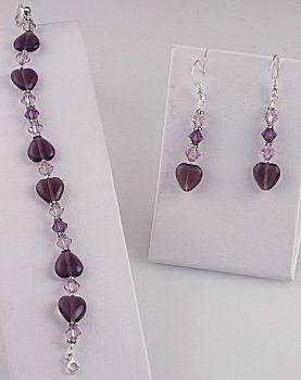IDEA: Amethyst Heart Bracelet and Earrings (eebeads.com)