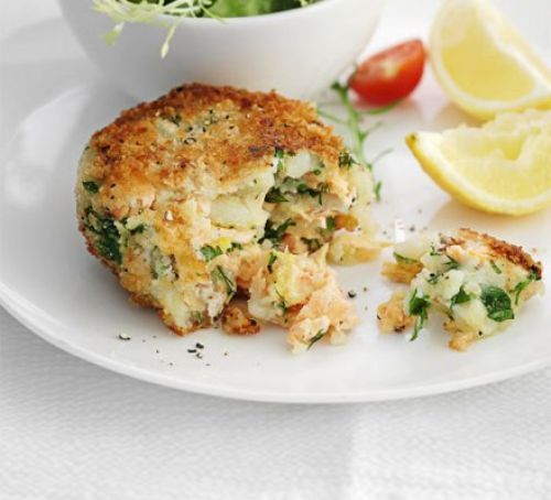 The best salmon fish cakes - A fail-safe recipe for a speedy fish supper - flaked salmon flavoured with parsley, dill and some secret ingredients