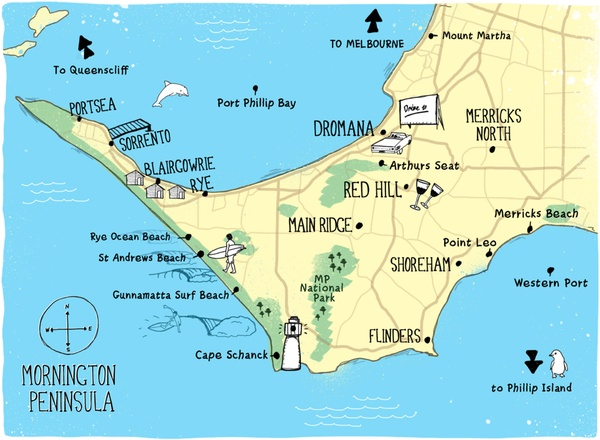 Map Mornington Peninsula. Numerous beautiful and tranquil towns to visit and enjoy with the family. Find the perfect accommodation at http://peninsulaholidayrentals.com.au/
