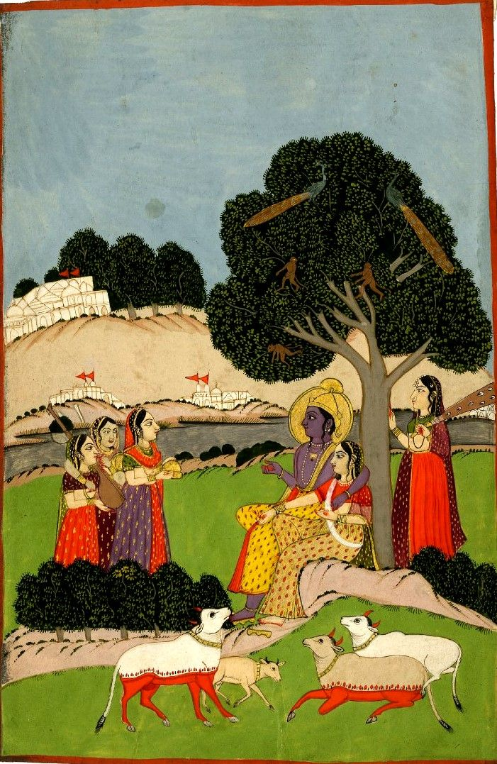 Kṛṣṇa and Rādhā with female musicians and attendants.Persian stamp seal. Gouache on paper. Inscribed. Rajasthan School. Date 1790-1810 (circa)