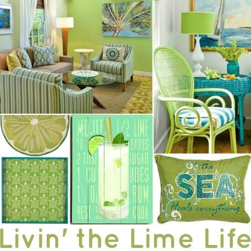 Livin' the Lime Life with Lime Green Interiors & Home Decor Accessories: http://www.completely-coastal.com/2016/05/lime-green-decor.html