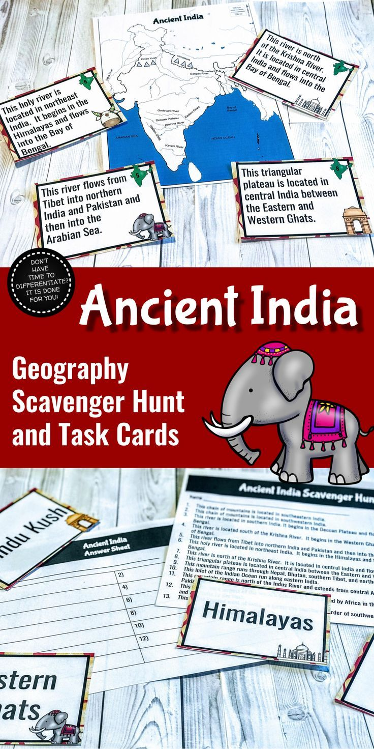 Historical India Geography Scavenger Hunt and Job Playing cards – – Differentiated