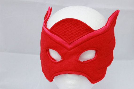 Owlette Mask - Owlette Costume - PJ Mask Costume - Owlette PJ Mask - PJ Mask themed party - red mask - owlette red mask