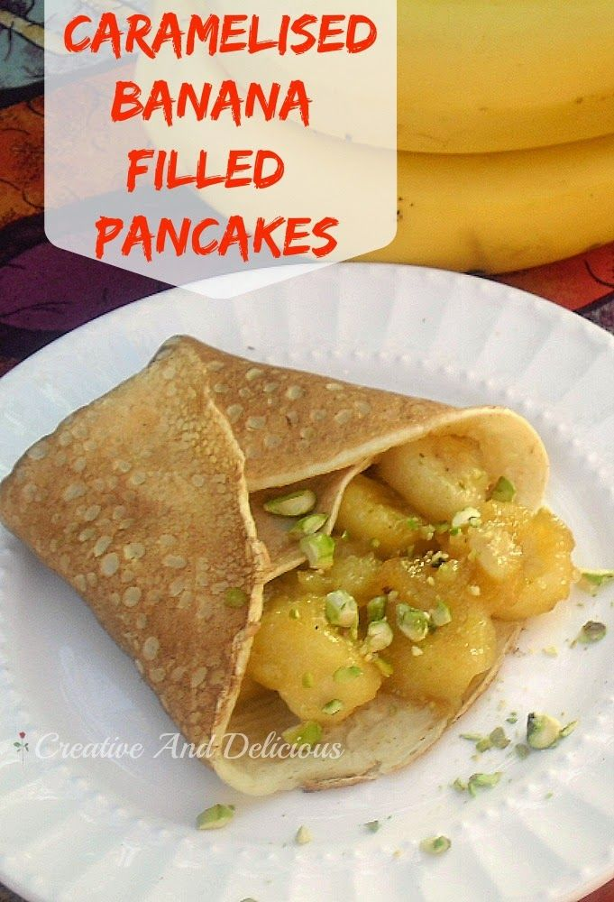Delicious, caramel Bananas in pancakes served warm or cold !
