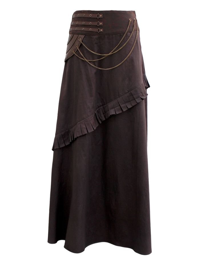 110 Long Brown Steampunk Skirt with Pleats ï¾– special order....................I dislike that it's called a steampunk skirt, but it's a cool skirt.  I'd wear this all the time.