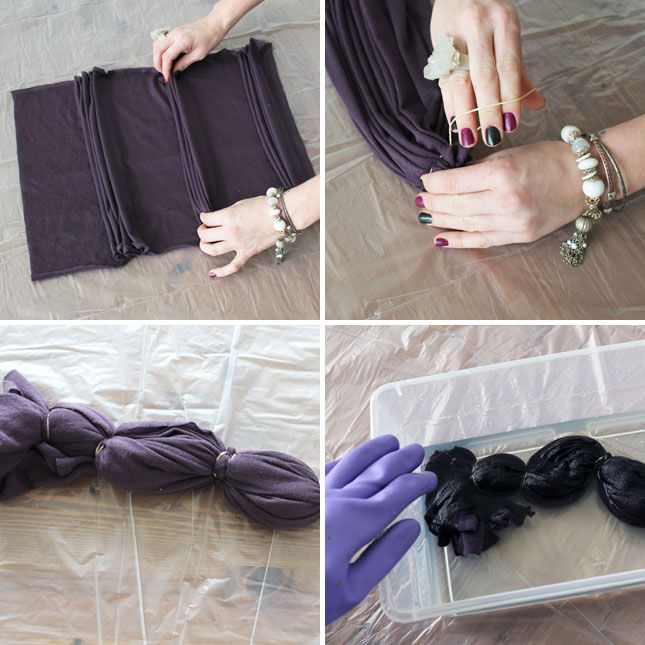 How to Make Reverse Tie Dye Jersey-Knit Scarves   Brit + Co.