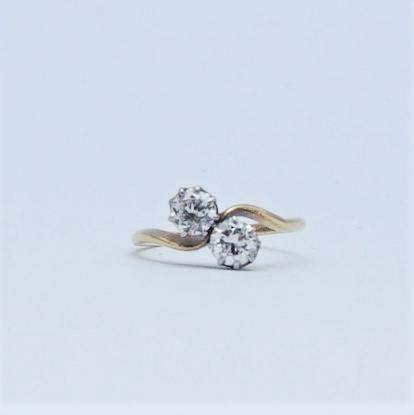 Art Deco Two Stone Diamond Cross Over Ring