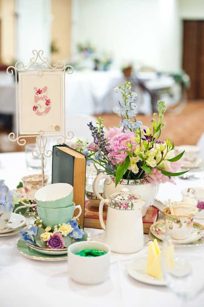 vintage tea themed wedding table centerpieces via wedding ideas magazine