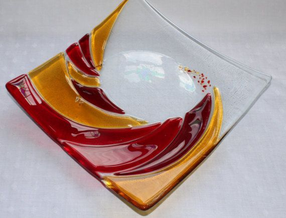 Ruby Red Postbox And Amber Fused Gl Wave Bowl Sushi Platefused