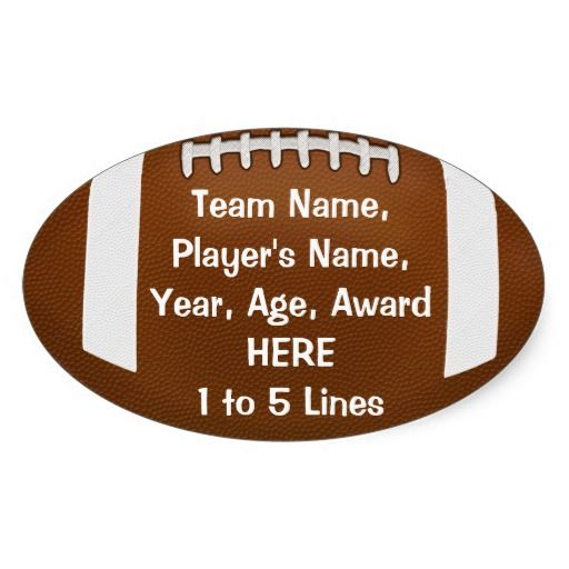 Personalized Football Stickers with 1 - 5 Lines of YOUR TEXT. Great for cheap football party favors, football team stickers, helmets, football awards and more. How about Fantasy Football Stickers for every week.  Cheap personalized football gifts for kids and adults.  Football Gifts CLICK HERE: http://www.zazzle.com/littlelindapinda/gifts?cg=196532339247083789&rf=238147997806552929  ALL of Little Linda Pinda Designs CLICK HERE: http://www.Zazzle.com/LittleLindaPinda*/