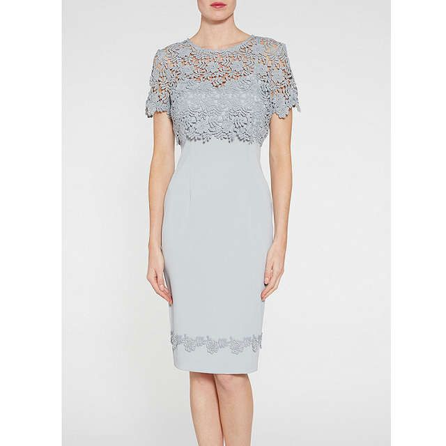 BuyGina Bacconi Crepe Dress With Guipure Trim And Overtop, Summer Flint, 8 Online at johnlewis.com