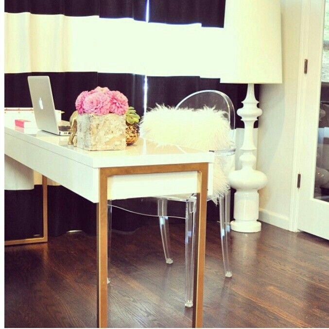White And Gold Gold Desk
