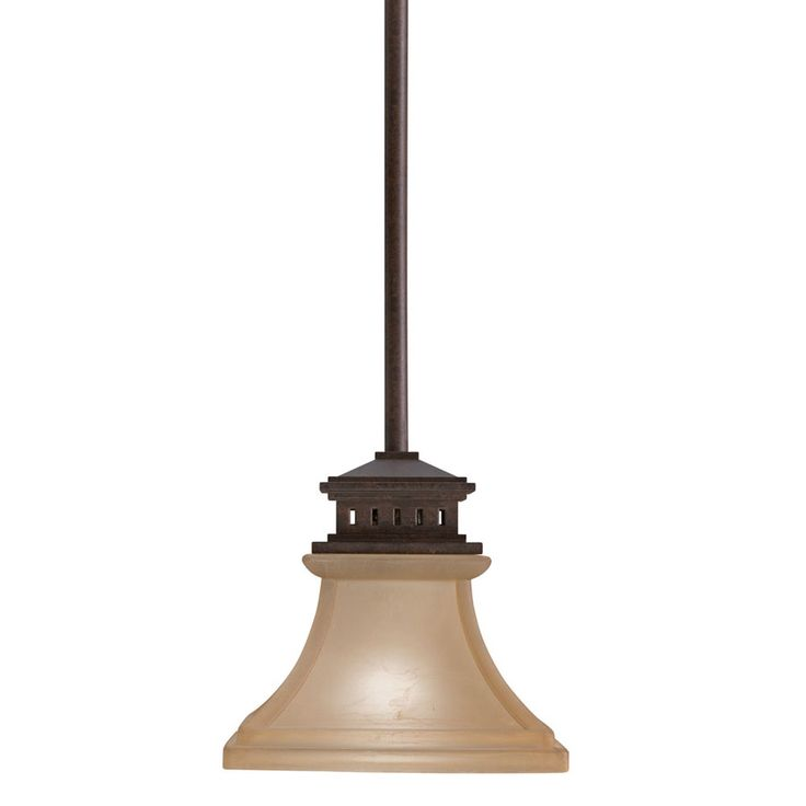 Shop Allen Roth 6 5 In W Tannery Bronze Mini Pendant Light With Frosted Shade At Lowes Com