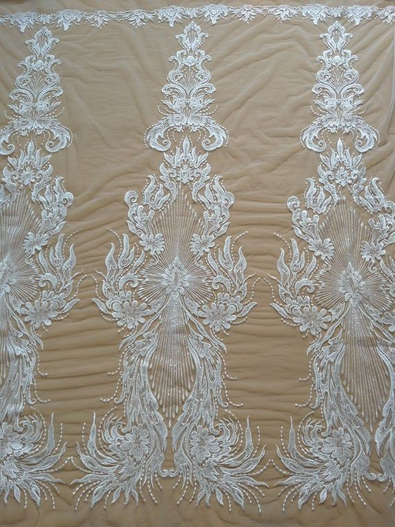New Style beaded lace fabric with sequins on mesh embroidery vintage style bridal lace fabric